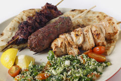 Arab style barbecue meal with tabouleh Royalty Free Stock Image