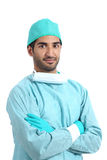 Arab surgeon serious doctor posing standing with folded arms Royalty Free Stock Photo