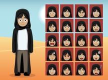 Arab Teen Girl Cartoon Emotion faces  Stock Photography