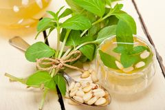 16304054 Arab traditional mint and pine nuts tea stock image