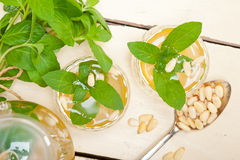 Arab traditional mint and pine nuts tea Stock Image