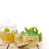 Arab traditional mint and pine nuts tea Stock Images
