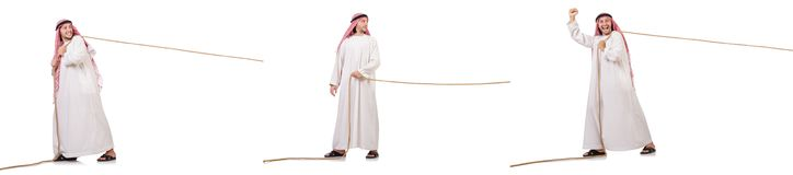 The arab in tug of war concept on white. Arab in tug of war concept on white Stock Photography