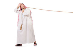 Arab in tug of war concept. On white Royalty Free Stock Photo