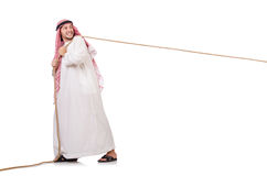 Arab in tug of war concept. On white Stock Images