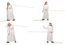 The arab in tug of war concept on white Stock Photography