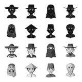 Arab, turkowie, wietnamczyk, środkowy Asia mężczyzna Ras ludzkich ustalone inkasowe ikony w czarnym, monochromu symbolu stylowy w Obrazy Stock
