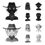 Arab, turkowie, wietnamczyk, środkowy Asia mężczyzna Ras ludzkich ustalone inkasowe ikony w czarnym, monochromu symbolu stylowy w royalty ilustracja