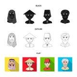 Arab, turkowie, wietnamczyk, środkowy Asia mężczyzna Ras ludzkich ustalone inkasowe ikony w czarnym, płaski, konturu stylowy wekt Obrazy Stock