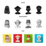 Arab, turkowie, wietnamczyk, środkowy Asia mężczyzna Ras ludzkich ustalone inkasowe ikony w czarnym, płaski, monochromu stylowy w Zdjęcia Stock