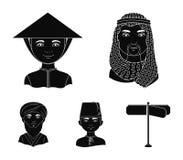 Arab, turkowie, wietnamczyk, środkowy Asia mężczyzna Ras ludzkich ustalone inkasowe ikony w czerń stylu symbolu wektorowym zapasi Obrazy Stock