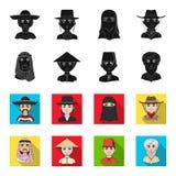 Arab, turkowie, wietnamczyk, środkowy Asia mężczyzna Ras ludzkich ustalone inkasowe ikony w czerni, fleta symbolu stylowy wektoro Zdjęcie Royalty Free