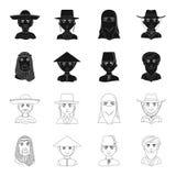 Arab, turkowie, wietnamczyk, środkowy Asia mężczyzna Ras ludzkich ustalone inkasowe ikony w czerni, konturu symbolu stylowy wekto Zdjęcie Royalty Free