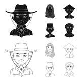 Arab, turkowie, wietnamczyk, środkowy Asia mężczyzna Ras ludzkich ustalone inkasowe ikony w czerni, konturu symbolu stylowy wekto Zdjęcie Stock