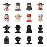 Arab, turkowie, wietnamczyk, środkowy Asia mężczyzna Ras ludzkich ustalone inkasowe ikony w czerni, kreskówka symbolu stylowy wek royalty ilustracja