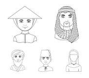 Arab, turkowie, wietnamczyk, środkowy Asia mężczyzna Ras ludzkich ustalone inkasowe ikony w konturu stylu symbolu wektorowym zapa Fotografia Stock
