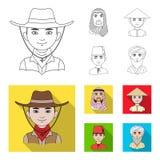 Arab, turkowie, wietnamczyk, środkowy Asia mężczyzna Ras ludzkich ustalone inkasowe ikony w konturze, mieszkanie symbolu stylowy  Fotografia Stock
