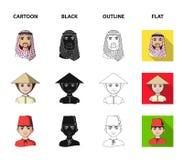Arab, turkowie, wietnamczyk, środkowy Asia mężczyzna Ras ludzkich ustalone inkasowe ikony w kreskówce, czerń, kontur, mieszkanie  royalty ilustracja