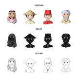 Arab, turkowie, wietnamczyk, środkowy Asia mężczyzna Ras ludzkich ustalone inkasowe ikony w kreskówce, czerń, konturu stylowy wek ilustracja wektor