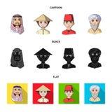 Arab, turkowie, wietnamczyk, środkowy Asia mężczyzna Ras ludzkich ustalone inkasowe ikony w kreskówce, czerń, mieszkanie stylowy  ilustracja wektor