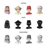 Arab, turkowie, wietnamczyk, środkowy Asia mężczyzna Ras ludzkich ustalone inkasowe ikony w kreskówce, czerń, monochromu stylowy  ilustracja wektor