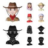 Arab, turkowie, wietnamczyk, środkowy Asia mężczyzna Ras ludzkich ustalone inkasowe ikony w kreskówce, czerń symbolu stylowy wekt Zdjęcie Royalty Free