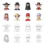 Arab, turkowie, wietnamczyk, środkowy Asia mężczyzna Ras ludzkich ustalone inkasowe ikony w kreskówce, konturu symbolu stylowy we Obraz Stock