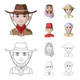 Arab, turkowie, wietnamczyk, środkowy Asia mężczyzna Ras ludzkich ustalone inkasowe ikony w kreskówce, konturu symbolu stylowy we royalty ilustracja