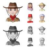 Arab, turkowie, wietnamczyk, środkowy Asia mężczyzna Ras ludzkich ustalone inkasowe ikony w kreskówce, monochromu stylowy wektoro royalty ilustracja