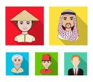 Arab, turkowie, wietnamczyk, środkowy Asia mężczyzna Ras ludzkich ustalone inkasowe ikony w mieszkanie stylu wektorowym symbolu z Obrazy Stock