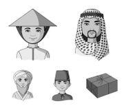 Arab, turkowie, wietnamczyk, środkowy Asia mężczyzna Ras ludzkich ustalone inkasowe ikony w monochromu stylu symbolu wektorowym z Fotografia Stock