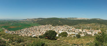 Arab village panorama with Mount Tabor Royalty Free Stock Photos