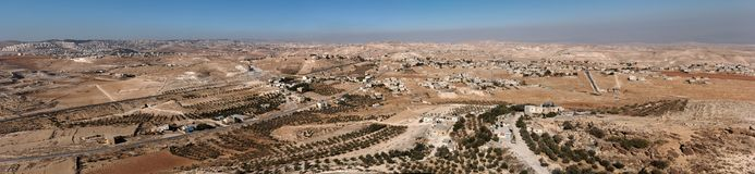 Arab villages in desert around Herodion near Bethl Royalty Free Stock Photos
