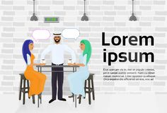 Arab Waiter Serving Two Muslim Women Drinking Coffee In Modern Cafe And Talking. Flat Vector Illustration Royalty Free Stock Photos