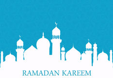 Arab whites mosque on blue background. Ramadan Kareem. Illustration