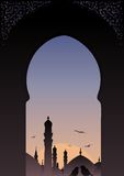 Arab window view islamic skyline. Arab window view islamic skyline with romantic birds Stock Photos