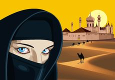 Arab woman against the palace in the desert. Royalty Free Stock Photos