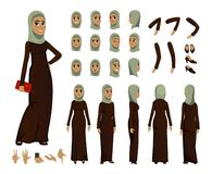 Arab Woman character constructor set in flat style. Muslim girl avatars or icons with different emotions and moving arms and head royalty free illustration