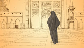 Arab Woman Coming To Mosque Building Muslim Religion Ramadan Kareem Holy Month royalty free illustration