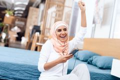 Arab woman in hijab rest after gymnastics. royalty free stock photography