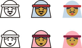 Arab woman and man icons Stock Images