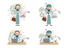 Arab woman with multi tasking and multi skill royalty free illustration