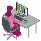 Arab woman, Muslim woman, asian woman working in office with computer. Attractive female Arabic corporate worker. Vector Royalty Free Stock Photo
