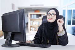 Arab woman and new idea Royalty Free Stock Photo
