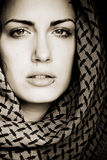 Arab woman with piercing. Arab woman using veil with her mouth pierced Royalty Free Stock Photography