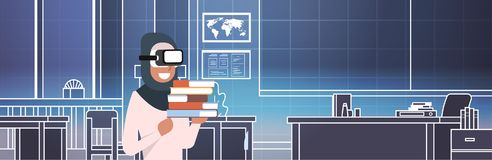 Arab Woman Student In 3d Glasses Over Class Room Background Virtual Reality Education Concept. Flat Vector Illustration Royalty Free Stock Images