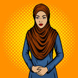 Arab woman in traditional dress pop art vector. Arab woman in traditional dress hijab pop art retro vector illustration. Comic book style imitation royalty free illustration