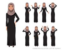 Arab women character set of emotions. Arab women character is happy and smiling. Cartoon style women with hijab. Emotion of joy and glee on the women face. The Stock Illustration
