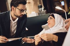 Arab woman at reception of family psychologist royalty free stock photography