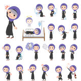 Arab women About the sickness. Set of various poses of Arab women About the sickness Royalty Free Stock Photography
